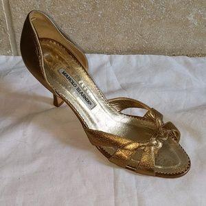 Manolo Blahnik Dark Gold Open-toed Heel